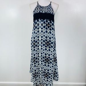 NEW ASTR Blue Tie Dye Halter Maxi Dress Small